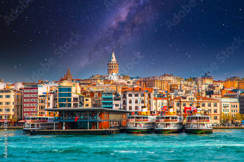 Galata Tower in istanbul City of Turkey Canvas Print