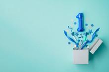 Number 1 Birthday Balloon Celebration Gift Box Lay Flat Explosion
