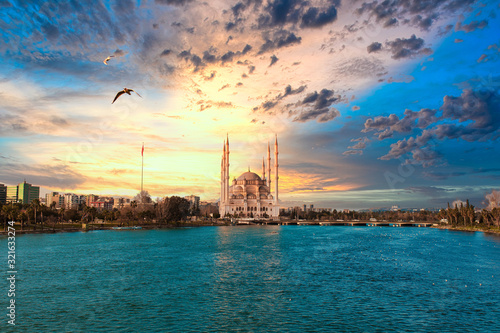 Sabanci Central Mosque, Old Clock Tower and Stone Bridge in Adana, city of Turkey Wallpaper Mural