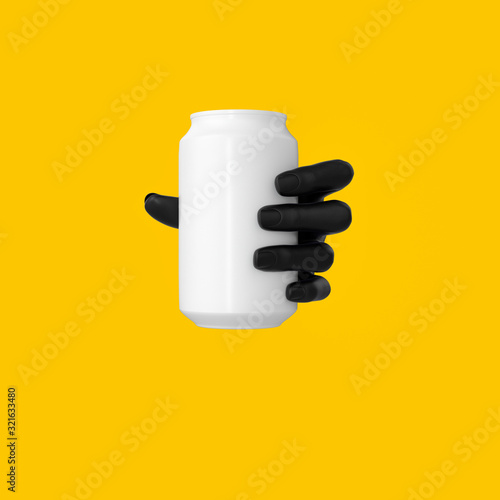 Black abstract hand gesture holding white can isolated on yellow backgrounds, di Wallpaper Mural