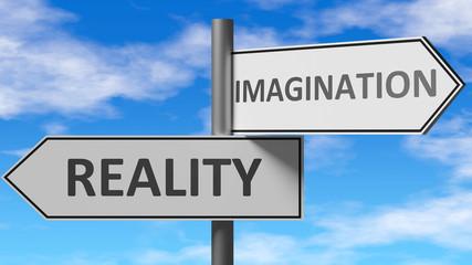 Stvarnost i mašta kao izbor, prikazano kao riječi Stvarnost, mašta na putokazima kako bi pokazali da kada osoba donosi odluku može odabrati bilo koju mogućnost, 3d ilustracija