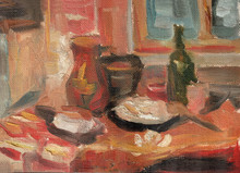 Still Life Sketch Painted In Oil. Several Color Options. Homemade Rural Still Life With Utensils Dumplings And Lard On A Bench Towel Near The Window. Oil Texture Background.