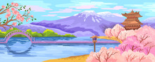 Vector Japanese Scenery With S...