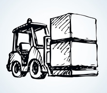 Forklift For Transportation. Vector Drawing