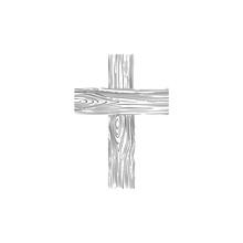 Christian Religion Symbol Object Isolated For Web. Wooden Cross Icon On White.