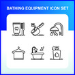 Bathroom hygiene equipment icon with blue color and black outline, simple Bathing equipment of body care accessories