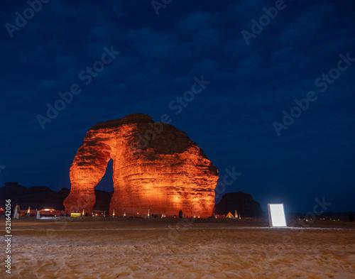 Tourists gather at the Elephant Rock geological site near Al Ula, Saudi Arabia Canvas Print
