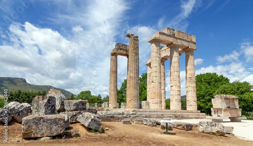Ancient Temple of Zeus in Nemea, Peloponnese, Greece. Canvas Print