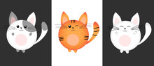 Set Of Cute And Kawaii Rounded Cats. Red, Spotted And White Characters. Vector Illustration. Print.
