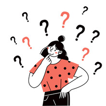 Thinking Girl, Woman Asks Questions. Flat Cartoon Style Vector Illustration.