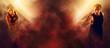 Leinwandbild Motiv Man and woman running on red smoke background. Sports banner