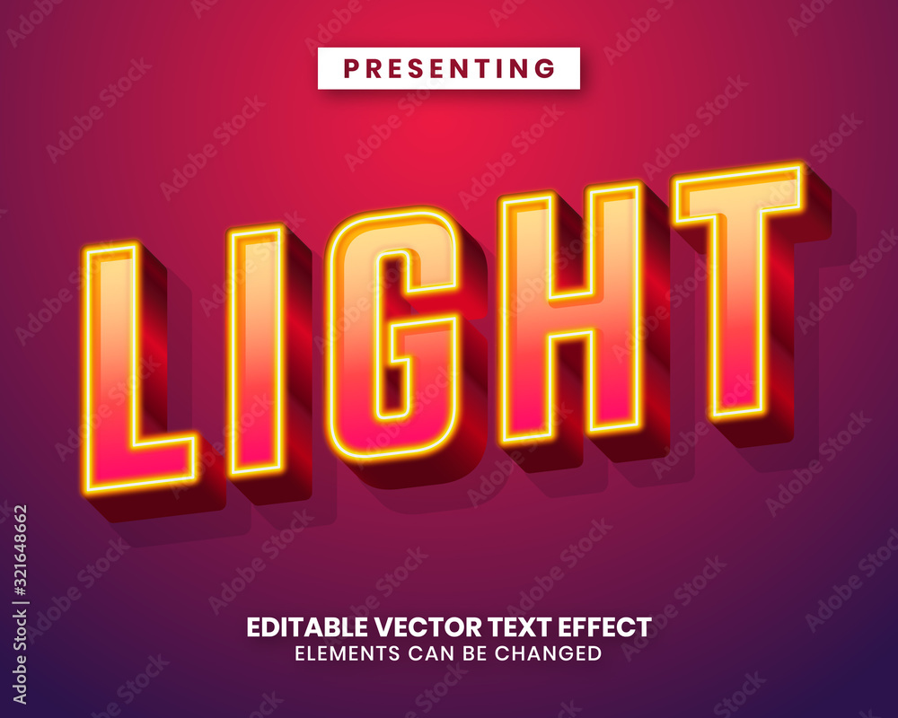 Modern 3d editable text effect with vibrant color gradient