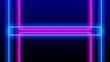 Loop of neon light colorful blue pink square rectangle frame horizon line moving effect. Futuristic disco techno 3D loop blue pink laser light stage seamless loop background