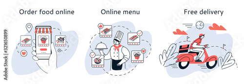 Ordering food online, meal selection online, home delivery.