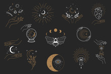 Vector Witch Magic Design Elements Set. Hand Drawn, Doodle, Sketch Magician Collection. Witchcraft Symbols. Perfect For Tattoo, Textile, Cards, Mystery