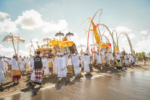 Sanur Beach Melasti Ceremony 2015-03-18, Melasti Is A Hindu Balinese Purification Ceremony And Ritual, Which According To Balinese Calendar Is Held Several Days Prior To The Nyepi Holy Day