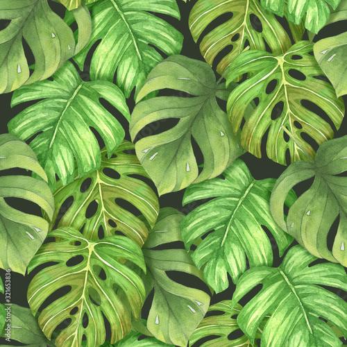 bezszwowy-wzor-z-tropikalna-lisc-akwarela-na-czarnym-tle-recznie-rysowane-charakter-ilustracja-idealny-na-wzorzyste-tkaniny-opako