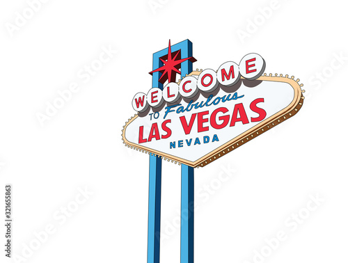 Photo Welcome to Las Vegas Nevada sign vector illustration isolation.