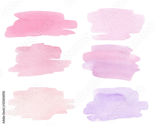 Obraz watercolor hand drawn pink splashes textures isolated on white background. Can be used in wedding invitations, cards, logo design   - fototapety do salonu