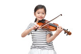 Fototapeta Kosmos - Asian girl play violin on white background (clipping path)