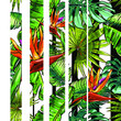 Seamless texture on the theme of the tropics, jungle from palm leaves, monstera, banana leaves, strelitzia and heliconia flowers. Template for printing, fabrics, packaging.