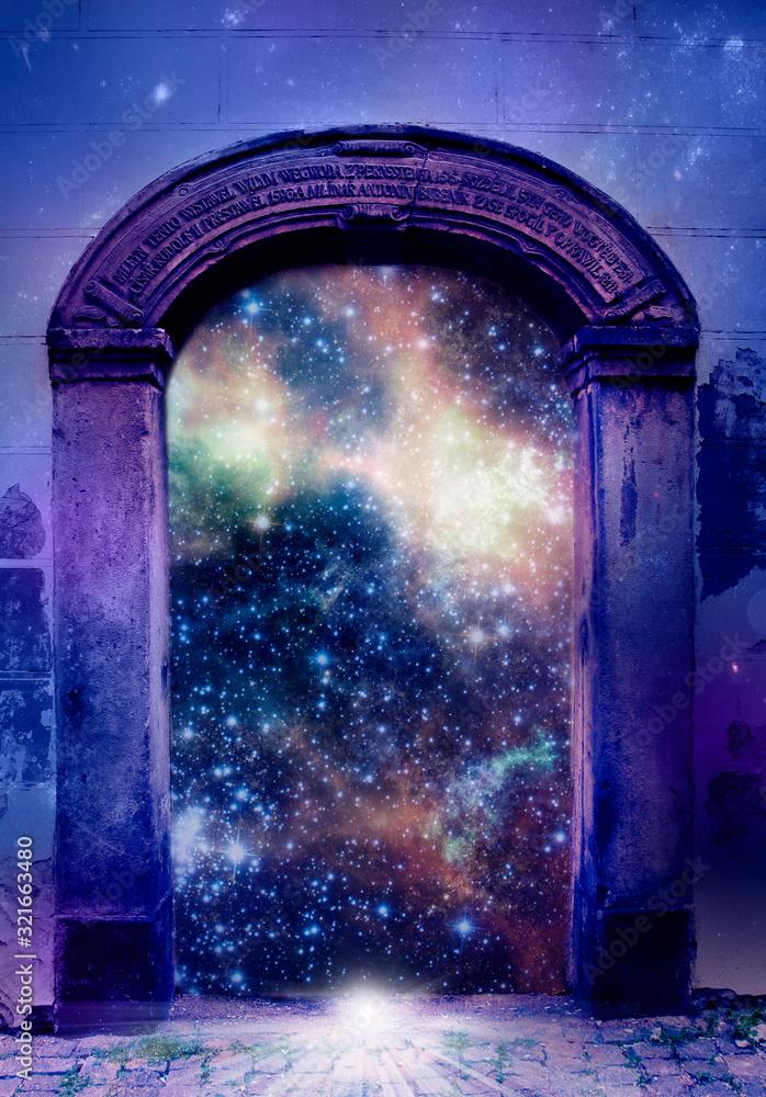 Fototapeta mystical mystic magic gate with stars and Universe like mystical background