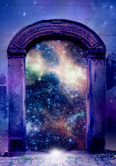 mystical mystic magic gate with stars and Universe like mystical background