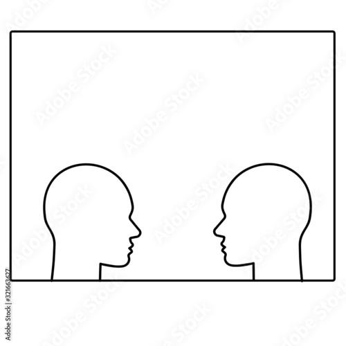 zwei köpfe im Fenster in schwarz weiß Canvas-taulu
