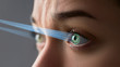 Female eye with smart contact lens with digital and biometric implants to scan the ocular retina close up. Future concept and high tech technology for scanning face id