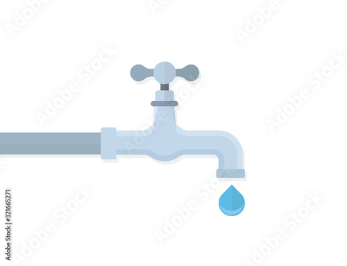 Obraz na plátně Water tap with drop flat illustration concept image icon