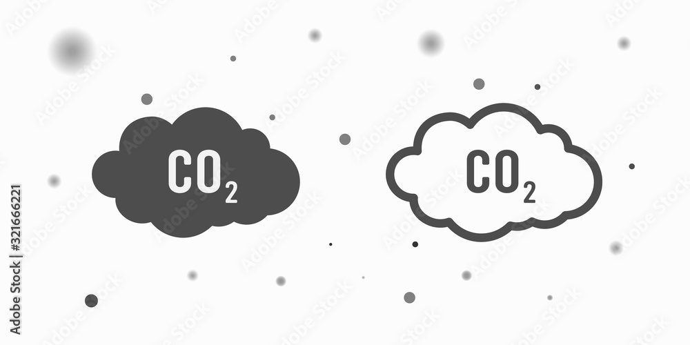 Fototapeta co2 emissions icon cloud vector flat, carbon dioxide emits symbol, smog pollution concept, smoke pollutant damage, contamination bubbles, garbage label