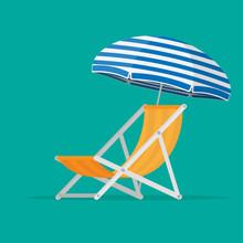 Beach Chair And Sun Umbrella W...