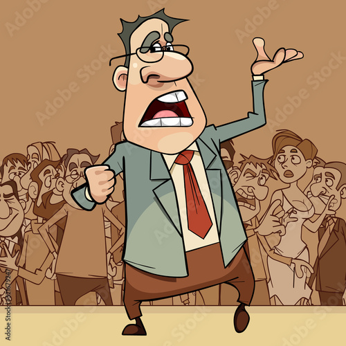 cartoon man in a suit and glasses emotionally broadcasts in front of a crowd of Canvas-taulu