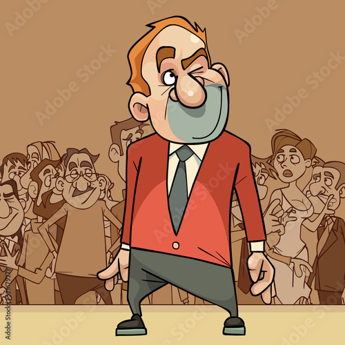 Valokuva cartoon man in a suit considers in his mind standing in front of a crowd of peop