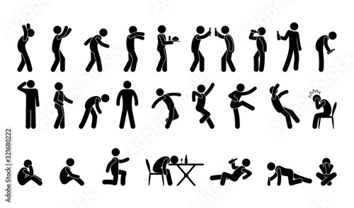 Fotografie, Tablou people in various poses, stick figure man icon, isolated silhouettes, drunk man,