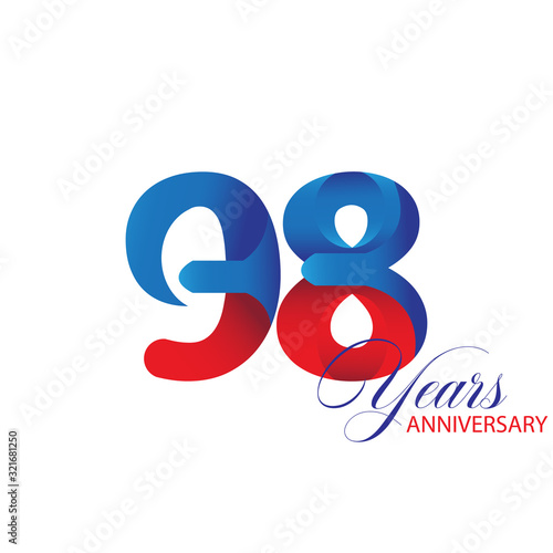 98 Years Anniversary Celebration Red and Blue Vector Template Design Illustratio Canvas Print