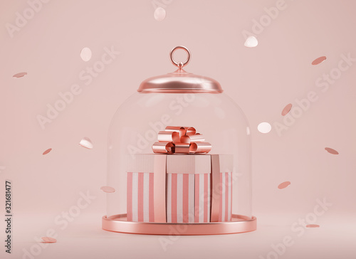Foto 3D Pink gift box with golden ribbon bow in glass dome on pastel pink background