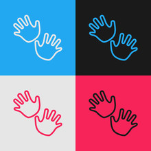 Color Line Baby Hands Print Icon Isolated On Color Background. Vintage Style Drawing. Vector Illustration