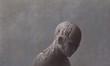 Sad and depressed broken human sculpture surreal painting