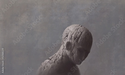 Leinwand Poster Sad and depressed broken human sculpture surreal painting