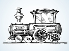 Old Toy Locomotive. Vector Dra...