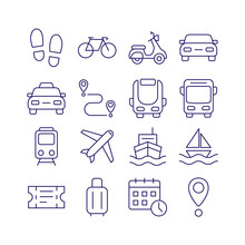 Public Transport Outline Icons...