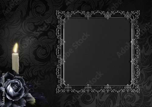 Fototapeta Schwarze Rose, auf schwarzem Hintergrund mit Ornamenten und antikem Rahmen, Gothic, Trauerkarte, Platz für Text obraz