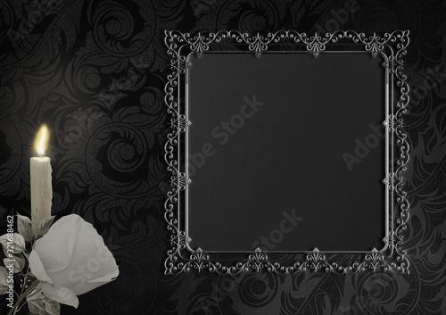 Fototapeta Weiße Rose auf schwarzem Hintergrund mit Ornamenten und antikem Rahmen, Gothic, Trauerkarte, Platz für Text obraz