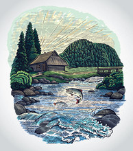 Countryside Landscape In Graphic Style, With Hut And Mountain River And Jumping Fish.