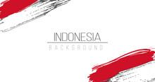 Indonesia Flag Brush Style Background With Stripes. Stock Vector Illustration Isolated On White Background.