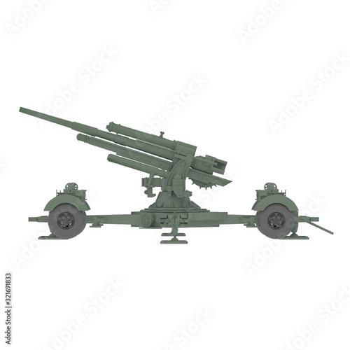 Artillery gun on a white background. Isolate Wallpaper Mural