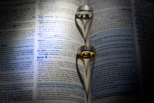 Valentine Hearts On A Dictionary Page Drawn By Shadow Of Two Rings  And Definition Of Love