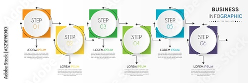 Cuadros en Lienzo Business infographic element with 6 options, steps, number vector template desig