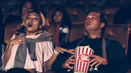 People audience watching movie in the movie theater cinema Wallpaper Mural